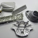 Samples of finished products from injection molds
